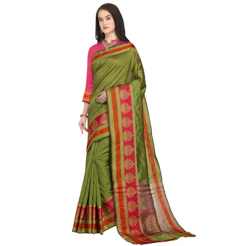 Amazing Olive Green Colored Festive Wear Woven Art Silk Saree
