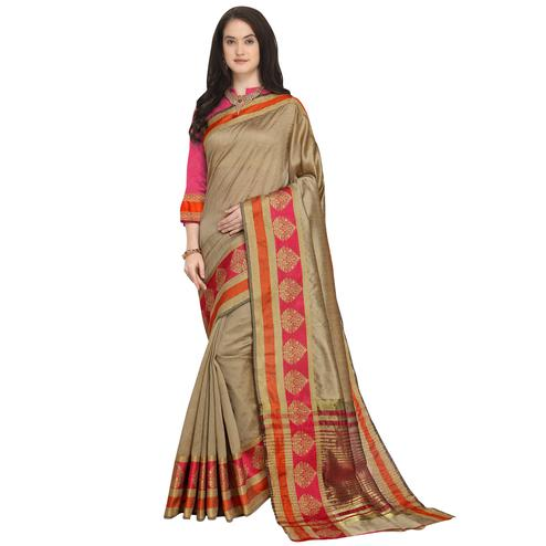 Exotic Beige Colored Festive Wear Woven Art Silk Saree
