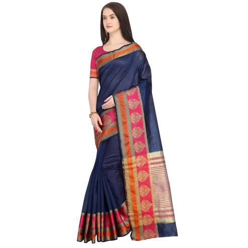 Majesty Navy Blue Colored Festive Wear Woven Art Silk Saree
