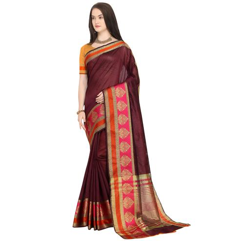 Preferable Wine Colored Festive Wear Woven Art Silk Saree