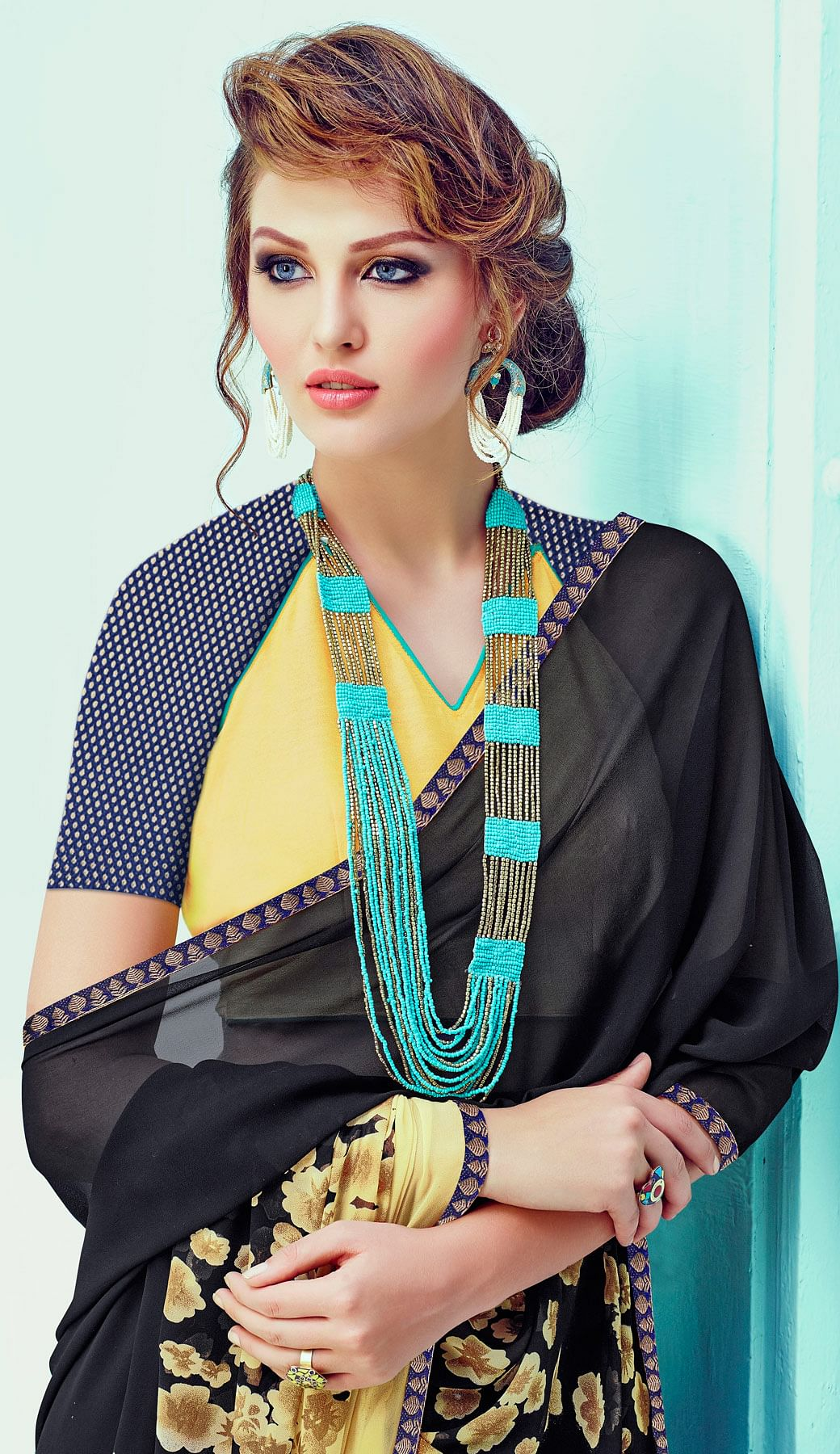 Lovely Black-Cream Casual Wear Printed Georgette Saree
