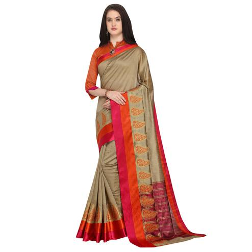 Classy Beige Colored Festive Wear Woven Art Silk Saree