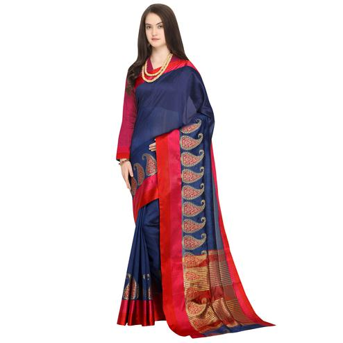 Beautiful Navy Blue Colored Festive Wear Woven Art Silk Saree