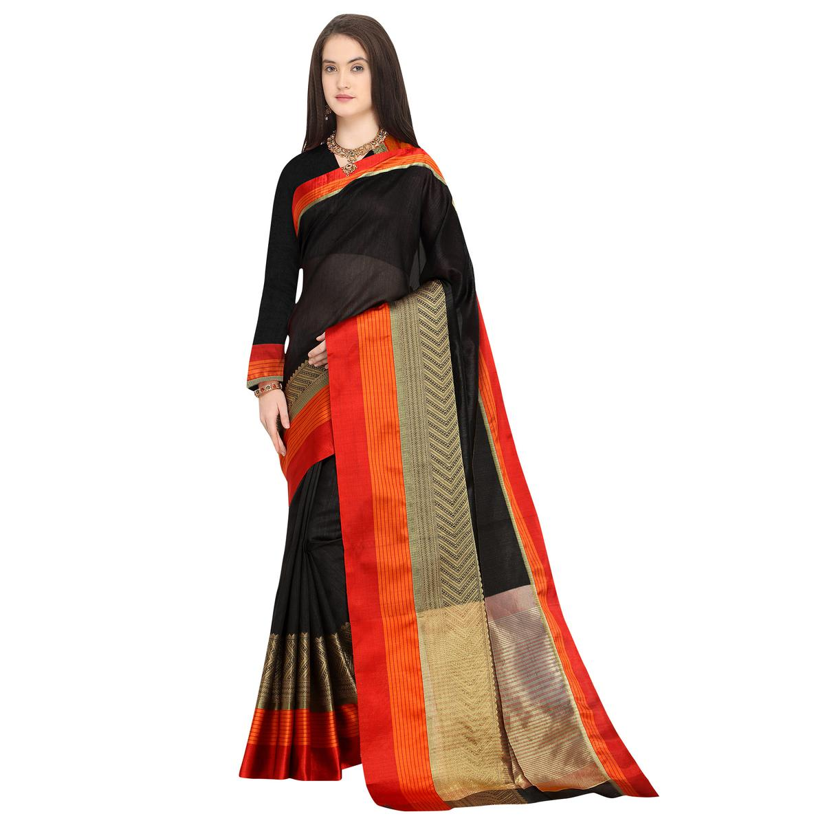 Gorgeous Black Colored Festive Wear Woven Art Silk Saree