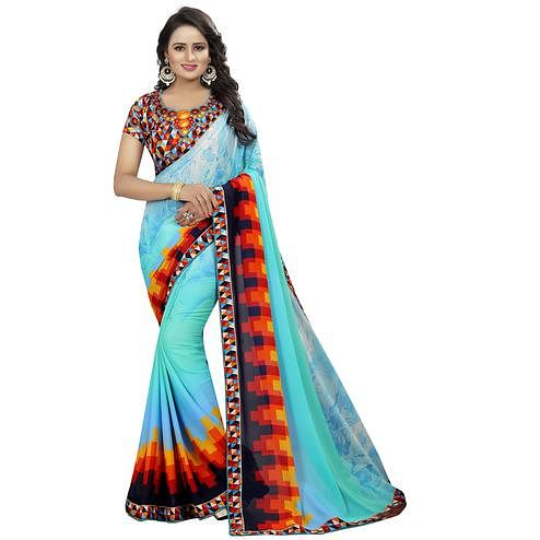 Classy Aqua Blue Colored Casual Wear Printed Georgette Saree