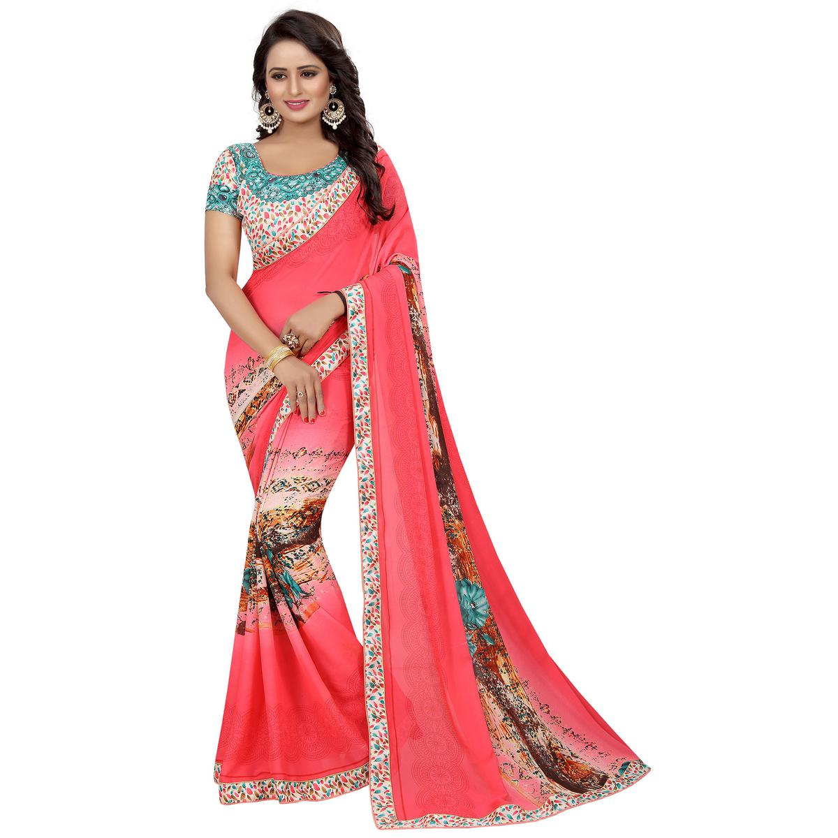 Glorious Peach Colored Casual Wear Printed Georgette Saree