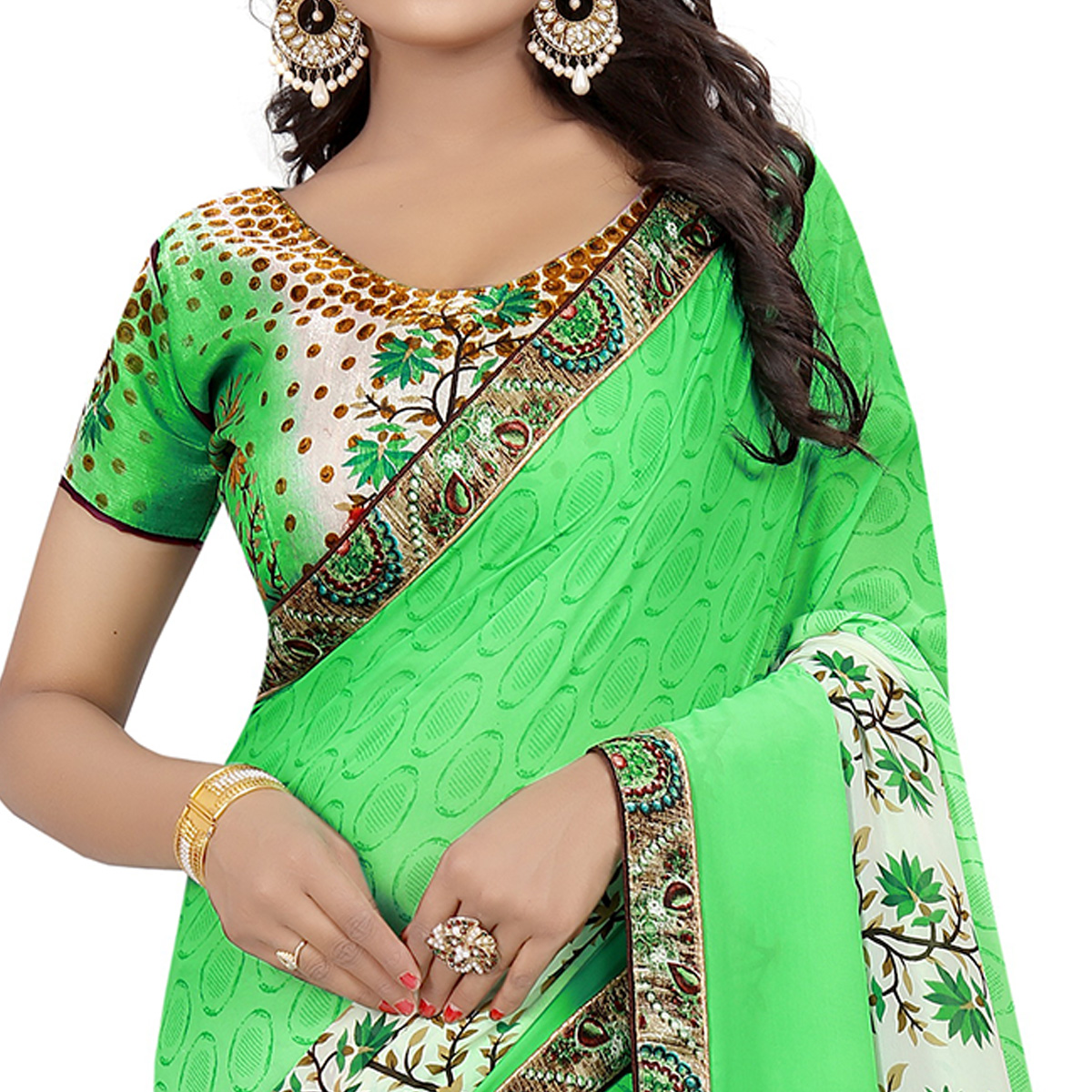 Graceful Green Colored Casual Wear Printed Georgette Saree