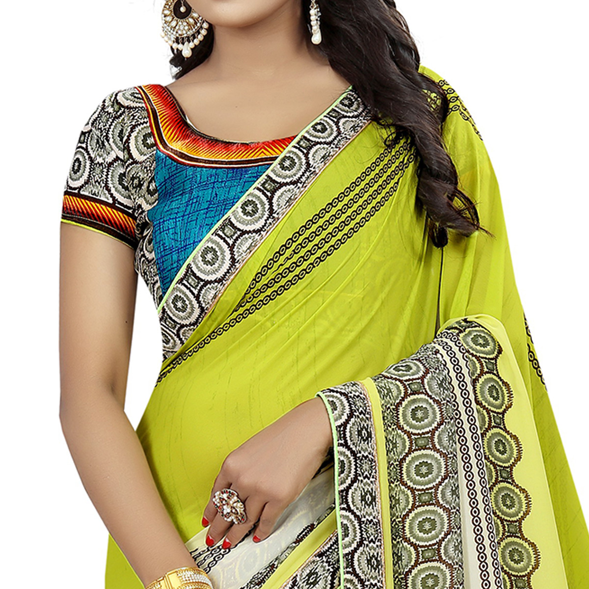 Charming Lemon Green Colored Casual Wear Printed Georgette Saree