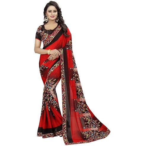Stunning Red Colored Casual Wear Printed Georgette Saree