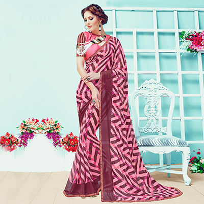 Gorgeous Pink Casual Wear Printed Georgette Saree