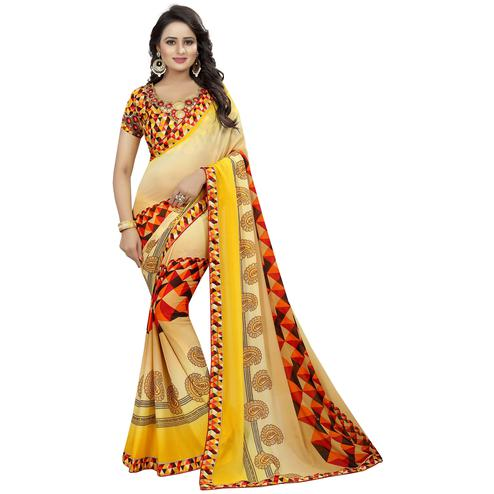 Amazing Yellow Colored Casual Wear Printed Georgette Saree
