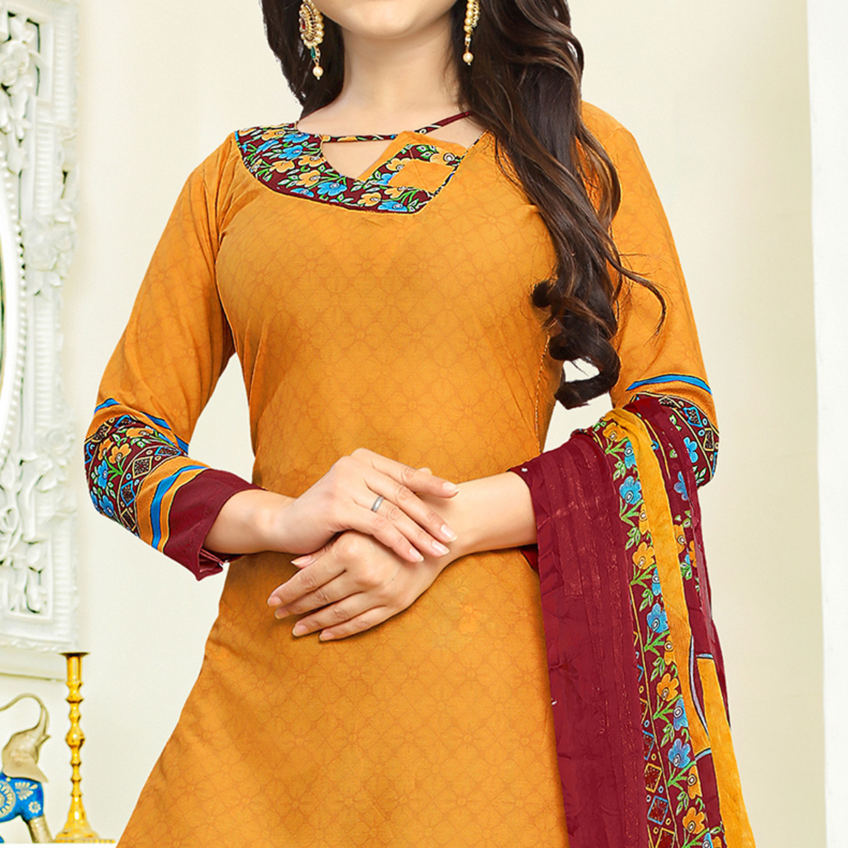 Adorable Orange Colored Casual Wear Printed Crepe Salwar Suit