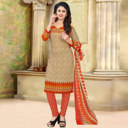 Beautiful Beige Colored Casual Wear Printed Crepe Salwar Suit