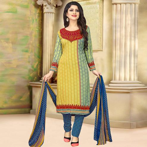 Gorgeous Multi Colored Casual Wear Printed Crepe Salwar Suit