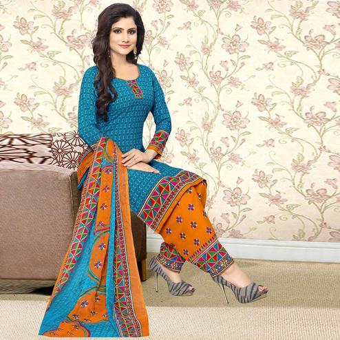 Classy Blue Colored Casual Wear Printed Crepe Salwar Suit