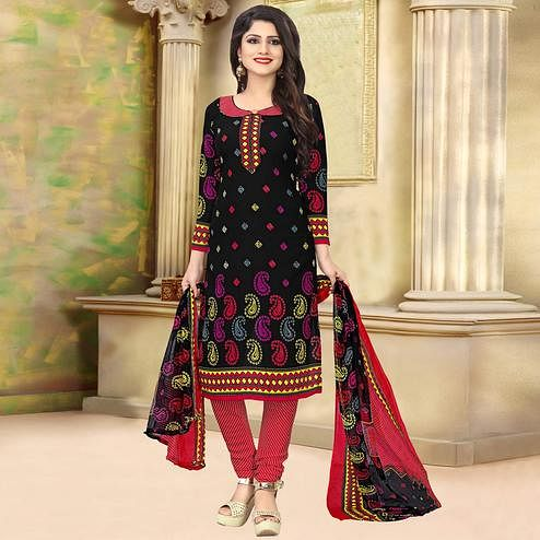 Glorious Black Colored Casual Wear Printed Crepe Salwar Suit