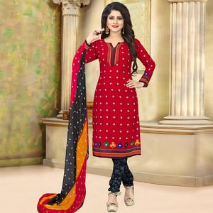 Graceful Red Colored Casual Wear Printed Crepe Salwar Suit