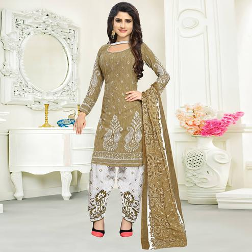 Lovely Olive Green Colored Casual Wear Printed Crepe Salwar Suit