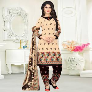Pretty Cream Colored Casual Wear Printed Crepe Salwar Suit