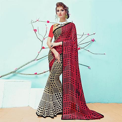 Trendy Black - Red Half & Half Casual Wear Printed Georgette Saree