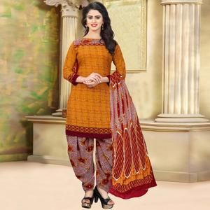 Charming Orange Colored Casual Wear Printed Crepe Salwar Suit