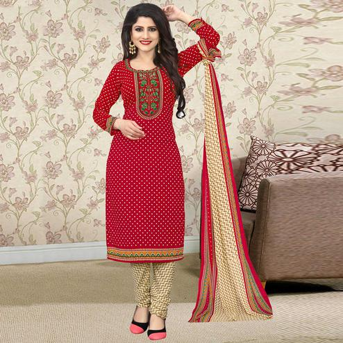 Ravishing Red Colored Casual Wear Printed Crepe Salwar Suit