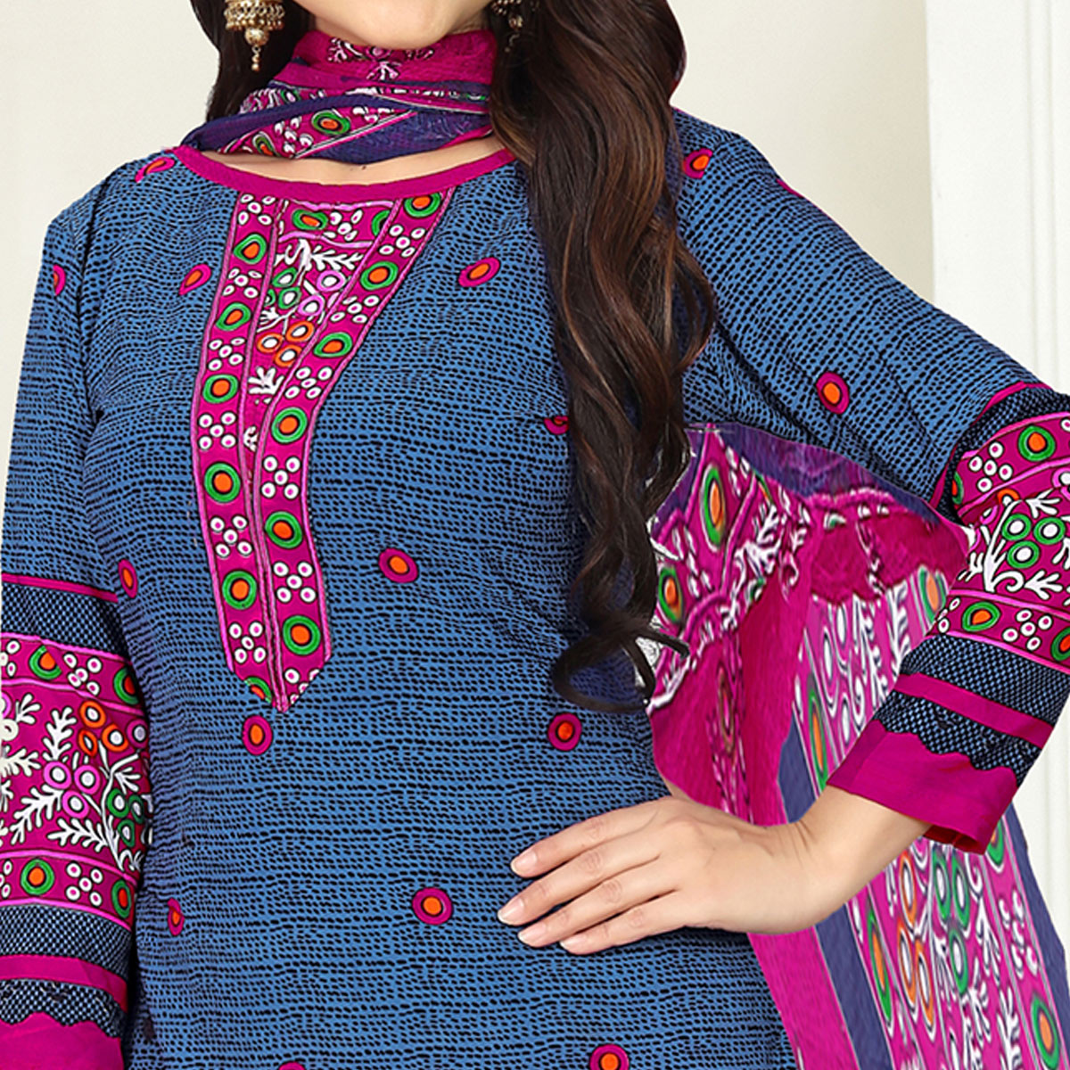 Delightful Blue Colored Casual Wear Printed Crepe Salwar Suit