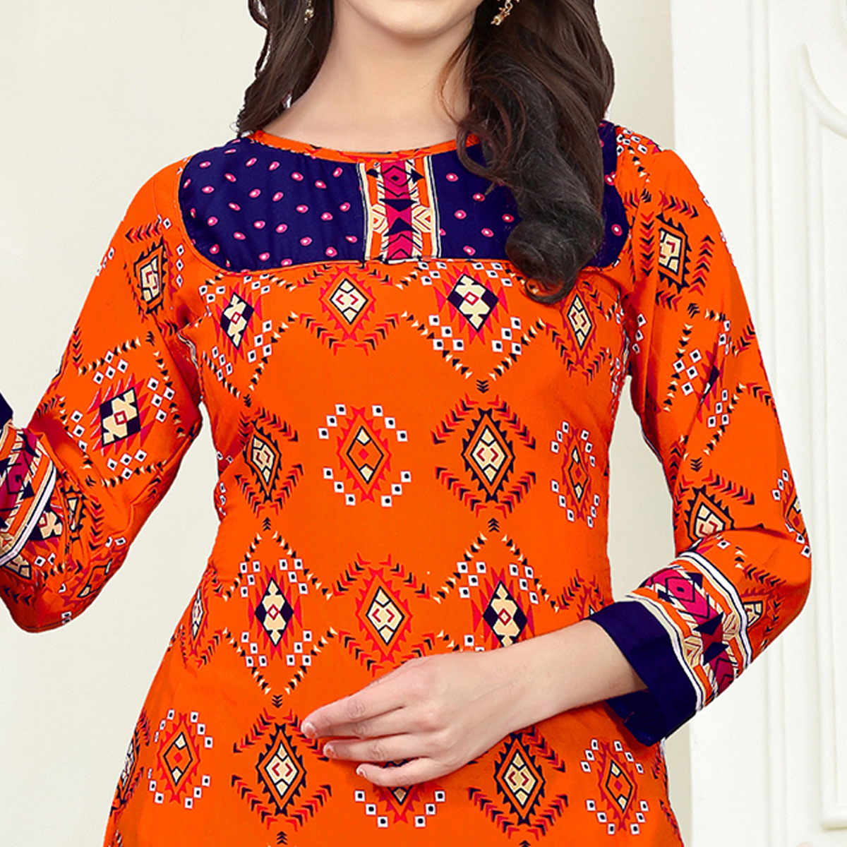 Stunning Orange Colored Casual Wear Printed Crepe Salwar Suit