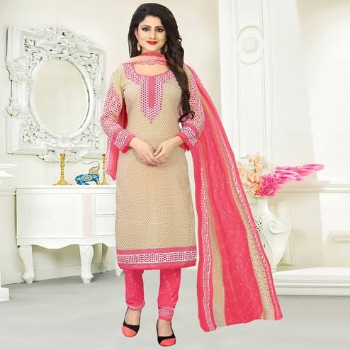 Blooming Beige Colored Casual Wear Printed Crepe Salwar Suit