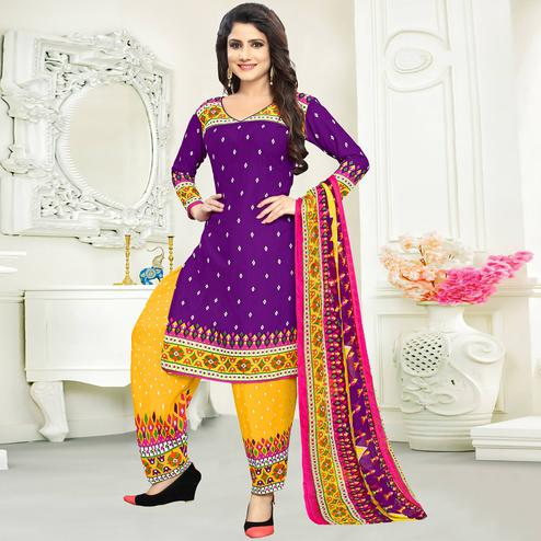 Marvellous Purple Colored Casual Wear Printed Crepe Salwar Suit