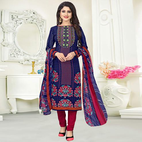 Mesmerising Navy Blue Colored Casual Wear Printed Crepe Salwar Suit