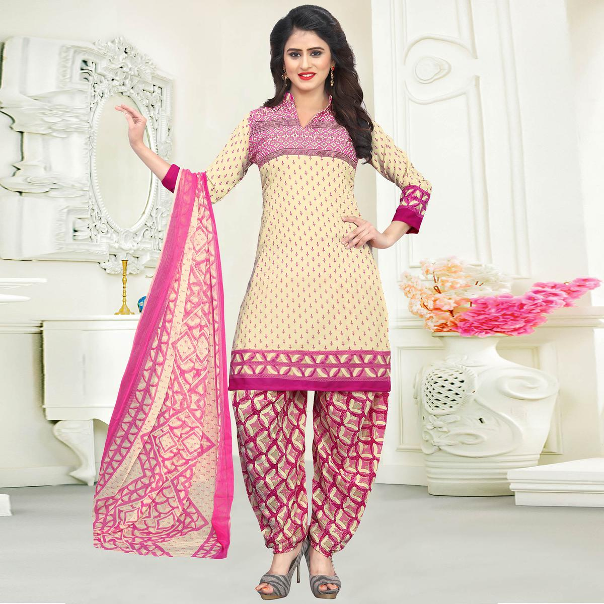 Ravishing Cream Colored Casual Wear Printed Crepe Salwar Suit