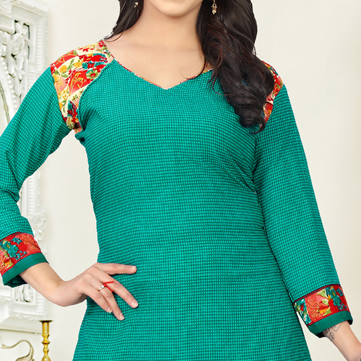 Eye-catching Turquoise Green Colored Casual Wear Printed Crepe Salwar Suit