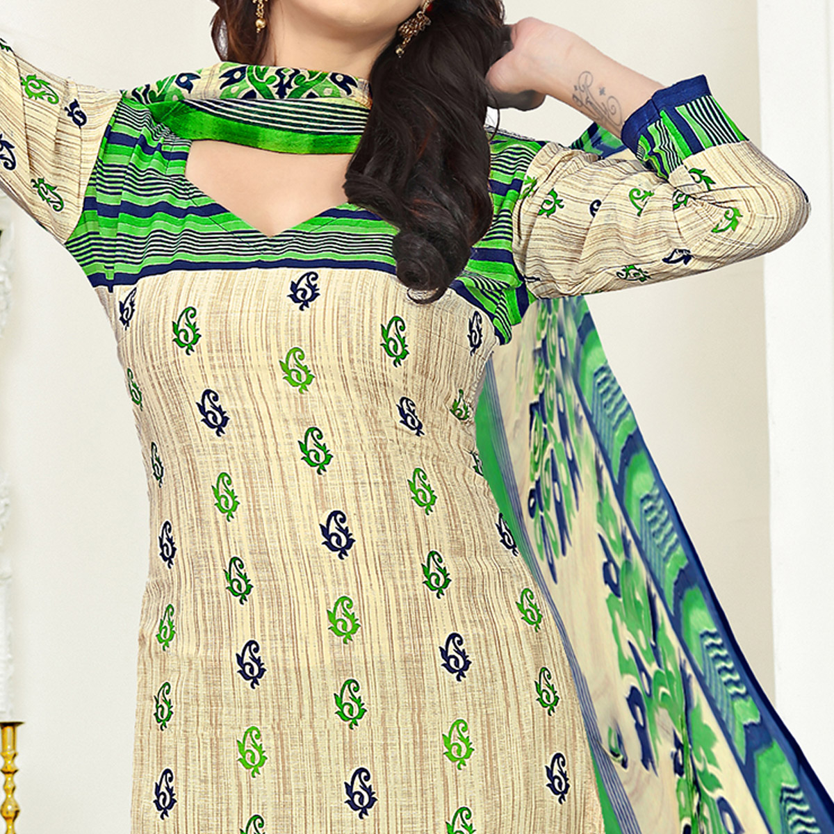 Amazing Beige Colored Casual Wear Printed Crepe Salwar Suit