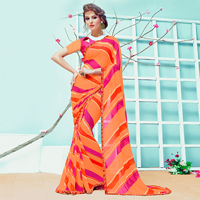 Beautiful Orange Casual Wear Printed Georgette Saree