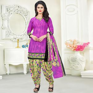 Majesty Pink Colored Casual Wear Printed Crepe Salwar Suit