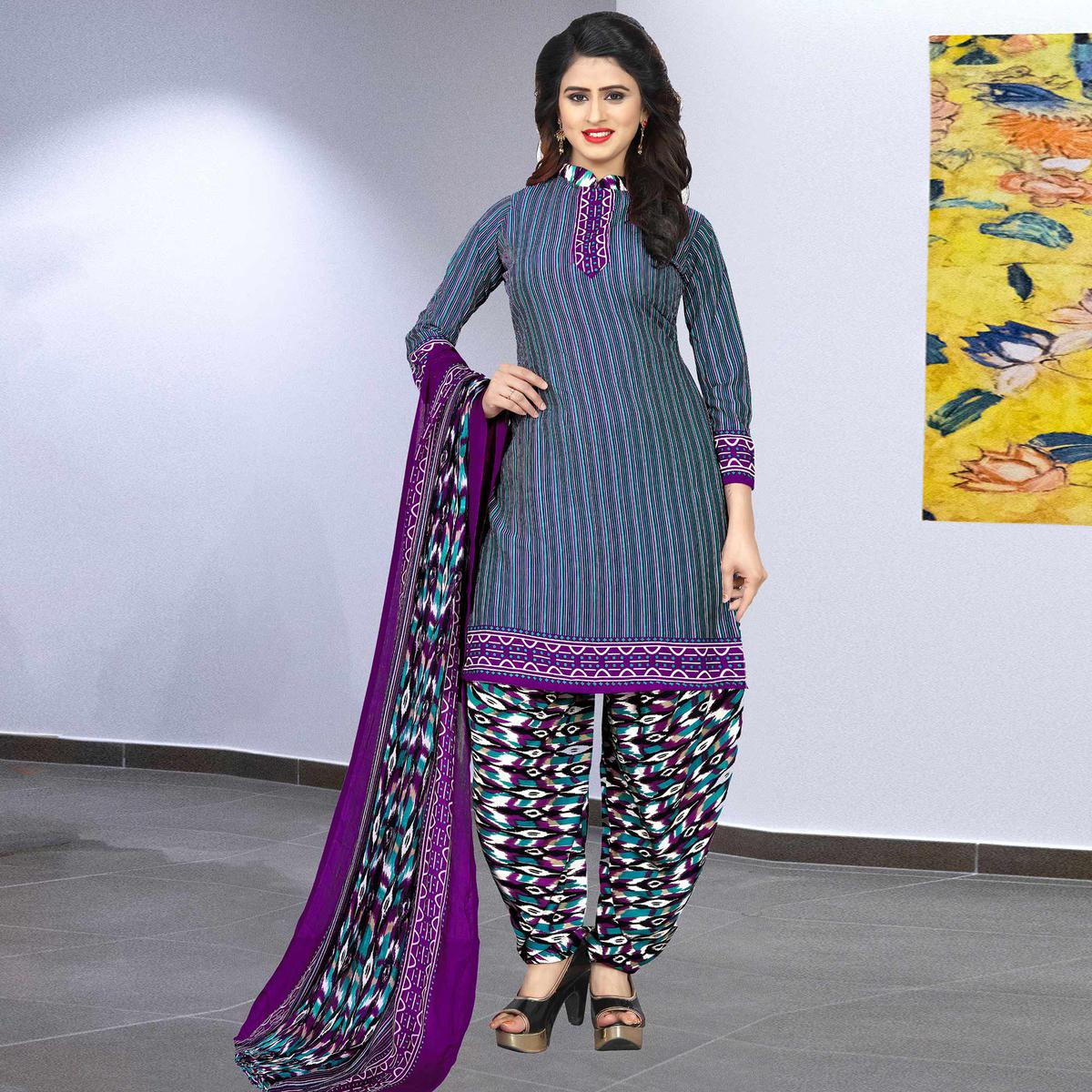 Preferable Blue Colored Casual Wear Printed Crepe Salwar Suit