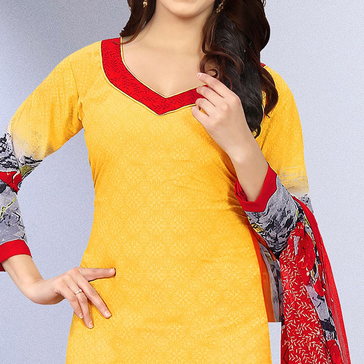 Unique Yellow Colored Casual Wear Printed Crepe Salwar Suit