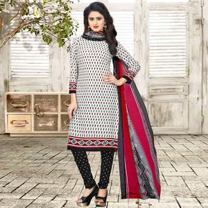 Elegant White Colored Casual Wear Printed Crepe Salwar Suit