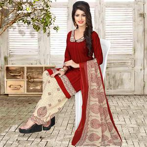 Alluring Maroon Colored Casual Wear Printed Crepe Salwar Suit