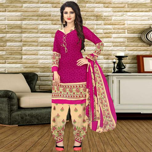 Groovy Pink  Colored Casual Wear Printed Crepe Salwar Suit