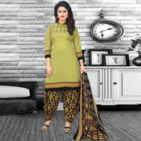 Jazzy Green Colored Casual Wear Printed Crepe Salwar Suit