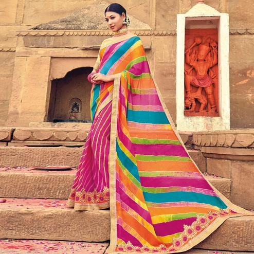 Gorgeous Pink-Multicolored Party Wear Lehariya Printed Georgette Saree