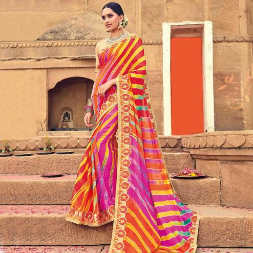 Classy Multicolored Party Wear Lehariya Printed Georgette Saree