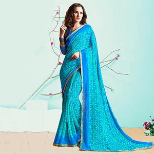 Graceful Green Casual Wear Printed Georgette Saree