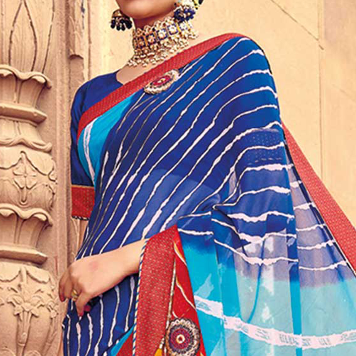 Graceful Blue-Multicolored Party Wear Lehariya Printed Georgette Saree