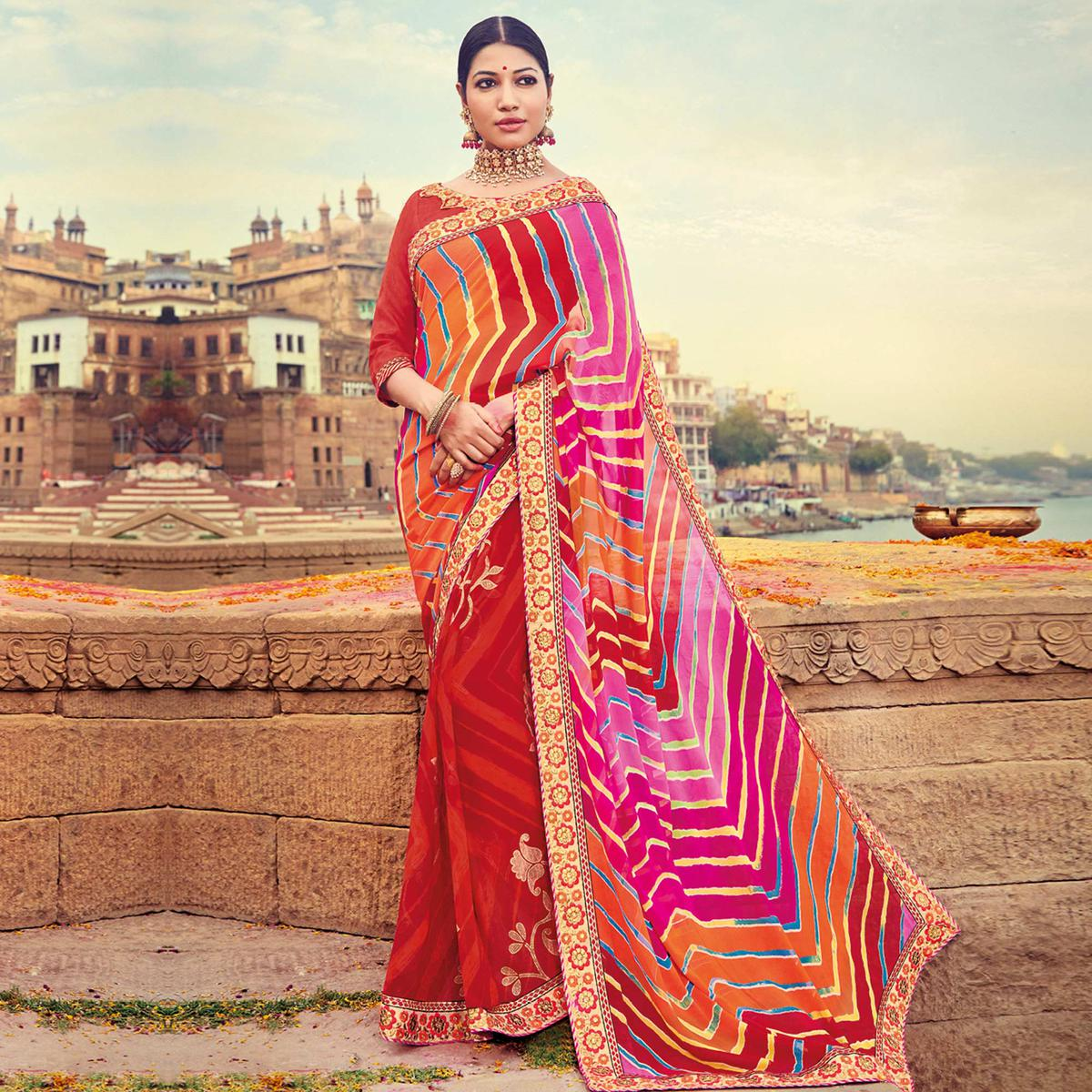 9a789c79e8 Buy Pretty Red-Multicolored Party Wear Lehariya Printed Georgette Saree  Online India, Best Prices, Reviews - Peachmode