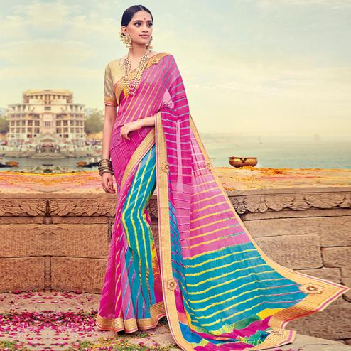Classy Pink-Blue Colored Party Wear Lehariya Printed Georgette Saree