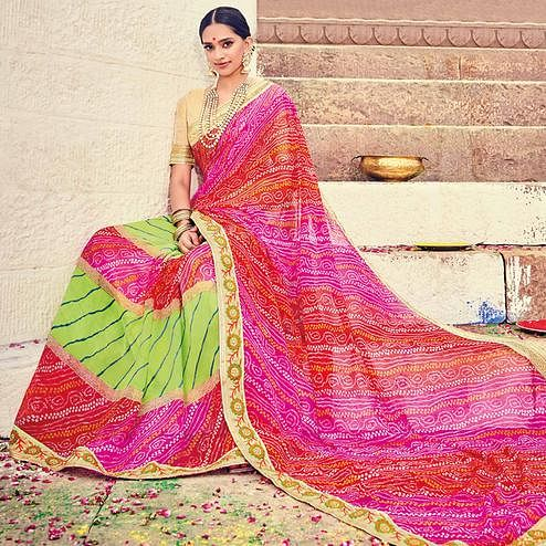 Lovely Green-Multicolored Party Wear Lehariya Printed Georgette Saree