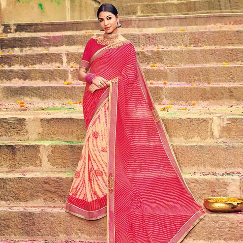 Pretty Light Peach-Red Colored Party Wear Lehariya Printed Georgette Saree